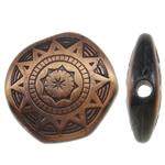 Beads Drawbench akrilik, Shape Tjera, ngjyrë bakri të praruar antike, krehur, asnjë, 17x18x5mm, : 2mm, 50PC/Qese,  Qese