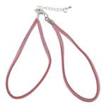 Byzylyk Moda Cord, Velveteen, Shape Tjera, Ngjyra argjend praruar, rozë, 2.50mm, :7.5Inç, 100Fillesat/Shumë,  Shumë