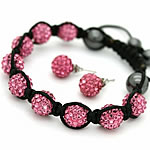 Bizhuteri Sets, diamant i rremë Shtrim bead, with Cord najlon & Jo-magnetike kuqe e mbylltë, Shape Tjera, endura, asnjë, rozë, 10mm, 8mm, :7-11Inç, 5Sets/Shumë,  Shumë