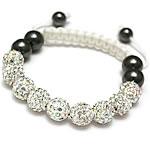 Diamant i rremë Shamballa Bracelets, diamant i rremë Shtrim bead, with Cord najlon & Jo-magnetike kuqe e mbylltë, Shape Tjera, endura, asnjë, e bardhë, 10mm, :7-11Inç, 10Fillesat/Shumë,  Shumë