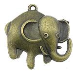 Pendants Zink Alloy Kafshëve, Alloy zink, Elefant, Ngjyra antike bronz i praruar, asnjë, asnjë, , nikel çojë \x26amp; kadmium falas, 26x26x5mm, : 2mm, 500PC/KG,  KG