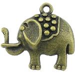 Pendants Zink Alloy Kafshëve, Alloy zink, Elefant, Ngjyra antike bronz i praruar, asnjë, asnjë, , nikel çojë \x26amp; kadmium falas, 23x21x4mm, : 2mm, 500PC/KG,  KG