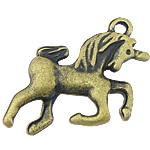 Pendants Zink Alloy Kafshëve, Alloy zink, Kalë, Ngjyra antike bronz i praruar, asnjë, asnjë, , nikel çojë \x26amp; kadmium falas, 19x20x4mm, : 2mm, 555PC/KG,  KG
