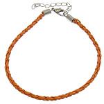 Byzylyk Moda Cord, PU, with Hekur, Shape Tjera, ngjyrë platin praruar, asnjë, portokall, 3mm, :8Inç, 300Fillesat/Shumë,  Shumë