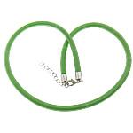 Cord gjerdan Moda, with Tunxh, Shape Tjera, ngjyrë platin praruar, asnjë, e gjelbër, 5mm, :18Inç, 100Fillesat/Shumë,  Shumë