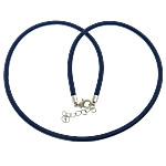 Cord gjerdan Moda, with Tunxh, Shape Tjera, ngjyrë platin praruar, asnjë, blu të errët, 4mm, :18Inç, 100Fillesat/Shumë,  Shumë