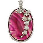 Agat pendants bizhuteri, Rose agat, with Pearl kulturuar ujërave të ëmbla & Tunxh, Oval Flat, ngjyrë platin praruar, shirit, 32x47x12mm, : 5x6mm, 5PC/Shumë,  Shumë