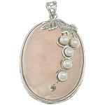 Pendants Natyrore kuarc, Rose kuarc, with Pearl kulturuar ujërave të ëmbla & Tunxh, Oval Flat, ngjyrë platin praruar, asnjë, 32x47x12mm, : 5x6mm, 5PC/Shumë,  Shumë