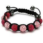 Diamant i rremë Shamballa Bracelets, diamant i rremë Shtrim bead, with Cord najlon & Jo-magnetike kuqe e mbylltë, Shape Tjera, endura, asnjë, asnjë, 10mm, :7-11Inç, 10Fillesat/Shumë,  Shumë