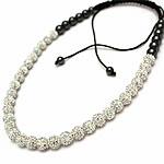 Shamballa Gjerdan, diamant i rremë Shtrim bead, with Cord najlon & Jo-magnetike kuqe e mbylltë, Shape Tjera, endura, asnjë, e bardhë, 10mm, :20-35Inç, 5Fillesat/Shumë,  Shumë