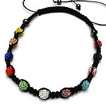 Shamballa Gjerdan, diamant i rremë Shtrim bead, with Cord najlon & Jo-magnetike kuqe e mbylltë, Shape Tjera, endura, asnjë, multi-colored, 10mm, :20-35Inç, 10Fillesat/Shumë,  Shumë