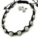 Bizhuteri Sets, diamant i rremë Shtrim bead, with Cord najlon & Jo-magnetike kuqe e mbylltë, Shape Tjera, endura, asnjë, asnjë, 10mm, :20-35Inç, 5Sets/Shumë,  Shumë