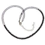 Cord gjerdan Moda, Plastike Cord Net Thread, with Kristal, e zezë, 4mm, :20Inç, 30Fillesat/Shumë,  Shumë