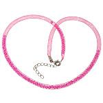 Cord gjerdan Moda, Plastike Cord Net Thread, with Kristal, rose rozë, 4mm, :20Inç, 30Fillesat/Shumë,  Shumë