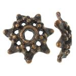 Alloy zink Bead Cap, Lule, ngjyrë bakri të praruar antike, asnjë, asnjë, , nikel çojë \x26amp; kadmium falas, 9x9x2.50mm, : 2mm, 5000PC/KG,  KG