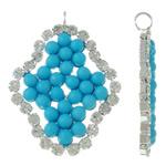 Tunxh, Romb, Ngjyra argjend praruar, me margaritar xhami & me diamant i rremë, blu, , nikel çojë \x26amp; kadmium falas, 23x31.50x3.50mm, : 2.5mm, 20PC/Qese,  Qese