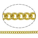 Oval Zinxhiri tunxh, Shape Tjera, ngjyrë ari praruar, asnjë, asnjë, , nikel çojë \x26amp; kadmium falas, 2x2.50x0.60mm, : 100m,  PC