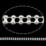 Tunxh Ball Chain, Shape Tjera, Ngjyra argjend praruar, asnjë, asnjë, , nikel çojë \x26amp; kadmium falas, 3x1.5mm, : 100m,  PC