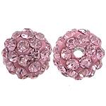 Diamant i rremë balta Beads hapë, Argjilë, Round, asnjë, me diamant i rremë, rozë, 10mm, PP17, : 2mm, 200PC/Qese,  Qese
