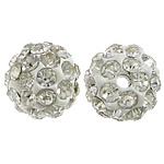 Diamant i rremë balta Beads hapë, Argjilë, Round, asnjë, me diamant i rremë, e bardhë, 10mm, PP17, : 2mm, 200PC/Qese,  Qese