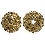 Diamant i rremë balta Beads hapë, Argjilë, Round, asnjë, me diamant i rremë, i verdhë, 10mm, PP15, : 2mm, 200PC/Qese,  Qese