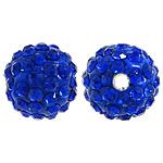 Diamant i rremë balta Beads hapë, Argjilë, Round, asnjë, me diamant i rremë, blu të errët, 10mm, PP12, : 2mm, 200PC/Qese,  Qese