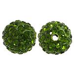 Diamant i rremë balta Beads hapë, Argjilë, Round, asnjë, me diamant i rremë, jeshile ulliri, 10mm, PP12, : 2mm, 200PC/Qese,  Qese
