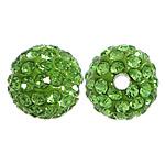 Diamant i rremë balta Beads hapë, Argjilë, Round, asnjë, me diamant i rremë, mollë jeshile, 10mm, PP12, : 2mm, 200PC/Qese,  Qese