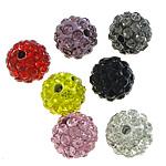 Diamant i rremë balta Beads hapë, Argjilë, Round, asnjë, me diamant i rremë, ngjyra të përziera, 10mm, PP17, : 2mm, 300PC/Qese,  Qese