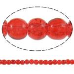 Knistern Glasperlen, Glas, rund, rot, 4mm, Bohrung:ca. 1mm, Länge:ca. 32.5 ZollInch, 10SträngeStrang/Tasche, verkauft von Tasche