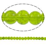 Glass Beads kërcitje, Xham, Round, asnjë, mollë jeshile, 6mm, : 1mm, : 32.2Inç, 10Fillesat/Qese, approx161Pcs/Strand,  Qese