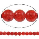 Glass Beads kërcitje, Xham, Round, asnjë, i kuq, 10mm, : 1mm, : 31.5Inç, 10Fillesat/Qese, approx83Pcs/Strand,  Qese