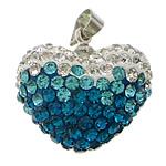Varëse diamant i rremë, Argjilë, with Tunxh, Zemër, ngjyrë platin praruar, me diamant i rremë, asnjë, 20x18x13mm, PP13, : 4x5mm, 20PC/Qese,  Qese