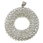 Varëse diamant i rremë, Argjilë, with Tunxh, Petull e ëmbël në formë gjevreku, ngjyrë platin praruar, me diamant i rremë, e bardhë, 27x31x9mm, PP14, : 4x5mm, 10PC/Qese,  Qese