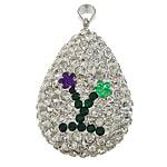 Varëse diamant i rremë, Argjilë, with Plastik & Tunxh, Lot, ngjyrë platin praruar, me diamant i rremë, e bardhë, 23x33x12mm, PP14, : 4x5mm, 20PC/Qese,  Qese