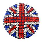 Diamant i rremë balta Beads hapë, Argjilë, Round Flat, asnjë, me diamant i rremë, multi-colored, 31x31x16mm, : 1.5mm, 10PC/Qese,  Qese