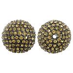 Alloy zink Beads diamant i rremë, Round, plumbit ngjyrë të zezë praruar, me diamant i rremë, i verdhë, , nikel çojë \x26amp; kadmium falas, 21mm, : 1mm, 20PC/Qese,  Qese