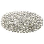 Diamant i rremë balta Beads hapë, Argjilë, Oval, asnjë, me diamant i rremë, e bardhë, 28x15mm, : 2mm, 20PC/Qese,  Qese