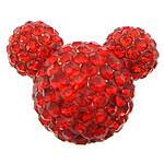 Diamant i rremë balta Beads hapë, Argjilë, Mickey Mouse, asnjë, me diamant i rremë & gjysmë-shpuar, i kuq, 22x18x14mm, : 1mm, 30PC/Qese,  Qese