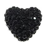 Diamant i rremë balta Beads hapë, Argjilë, Zemër, asnjë, me diamant i rremë, e zezë, 27x25x16mm, : 2mm, 30PC/Qese,  Qese