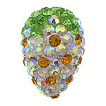 Diamant i rremë balta Beads hapë, Argjilë, Lot, Ngjyra AB kromuar, me diamant i rremë & gjysmë-shpuar, multi-colored, 20x29x20mm, : 1mm, 30PC/Qese,  Qese