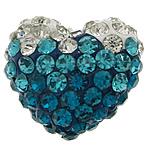 Diamant i rremë balta Beads hapë, Argjilë, Zemër, asnjë, me diamant i rremë & gjysmë-shpuar, asnjë, 16x13x9mm, : 1.5mm, 50PC/Qese,  Qese