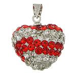Varëse diamant i rremë, Argjilë, with Tunxh, Zemër, ngjyrë platin praruar, me diamant i rremë, asnjë, 15x16x10mm, : 4x5mm, 30PC/Qese,  Qese