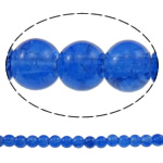 Glass Beads kërcitje, Xham, Round, asnjë, blu, 6mm, : 1mm, : 31.5Inç, 10Fillesat/Qese, approx145Pcs/Strand,  Qese