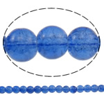 Glass Beads kërcitje, Xham, Round, asnjë, blu, 8mm, : 1-1.5mm, : 31.5Inç, 10Fillesat/Qese, approx110Pcs/Strand,  Qese