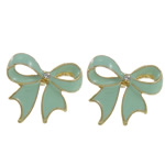 Enamel Zinc Alloy Stud Earring, Bowknot, with rhinestone & stainless steel post, gold color plated, nickel, lead & cadmium free, 21x19x4mm, Sold by Pair