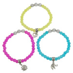 CCB Glass Beads Bracelets, with antique silver color zinc alloy charm & platinum color CCB, nickel, lead & cadmium free, mixed, 6mm, Approx 12Strands/Bag, Length:7.5 Inch, Sold by Bag