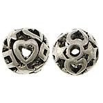 Beads aliazh zink Hollow, Alloy zink, Round, Ngjyra antike argjendi praruar, i uritur, asnjë, , nikel çojë \x26amp; kadmium falas, 11mm, : 2mm, 200PC/Qese,  Qese