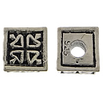 Beads bizhuteri Alloy zink, Kub, Ngjyra antike argjendi praruar, asnjë, asnjë, , nikel çojë \x26amp; kadmium falas, 8x8x8mm, : 3mm, 100PC/Qese,  Qese