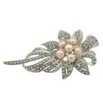Pearl ujërave të ëmbla karficë, Pearl kulturuar ujërave të ëmbla, with Alloy zink, Lule, ngjyrë platin praruar, me diamant i rremë, asnjë, 84x47x19mm,  PC